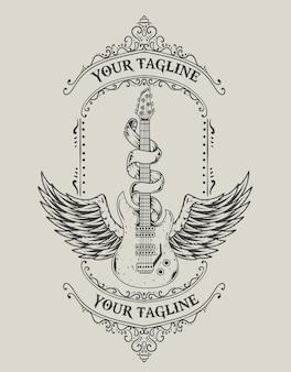 Illustration vintage guitar wings monochrome style