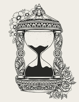 Illustration vintage hourgass with flower ornament