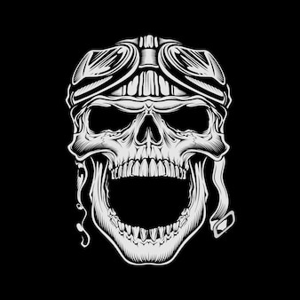 Illustration vintage motorcycle skull wearing retro helmet