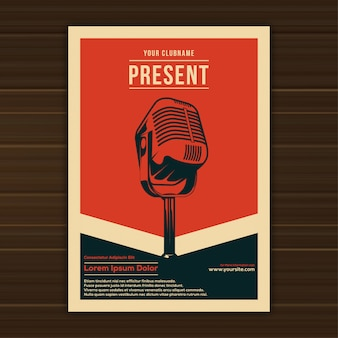 Illustration of vintage music event poster template