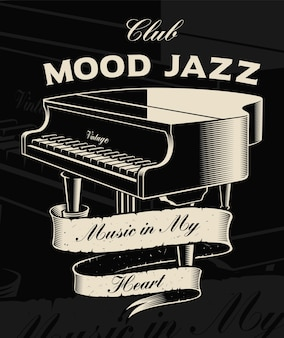 Illustration of vintage piano with ribbon on the dark background. text is on the separate group.