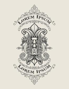 Иллюстрация старинных морских коньков логотип монохромный стиль