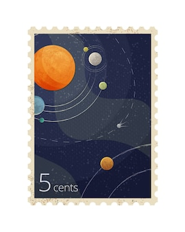 Illustration of vintage space postage stamp with planets isolated on white background