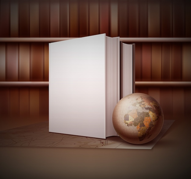 Illustration on vintage style with little globe near two books standing on the map