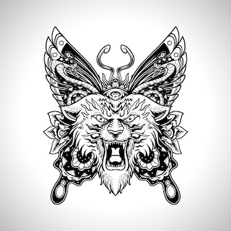 Illustration vintage tattoo design tiger head with butterfly and snake