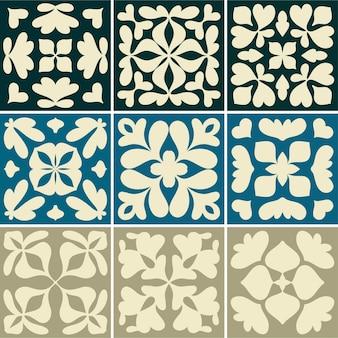 Illustration of vintage tiles textured pattern collection