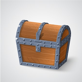 Illustration of vintage wooden chest with closed cover