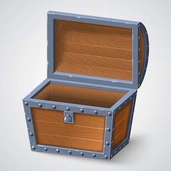 Illustration of vintage wooden chest with open cover