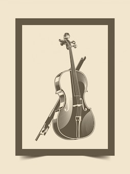 Illustration of viola with classic vintage style