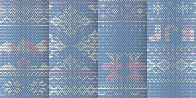 Illustration of violet color seamless patterns with winter elements in set