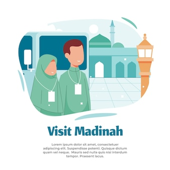 Illustration of visiting medina and pilgrimage