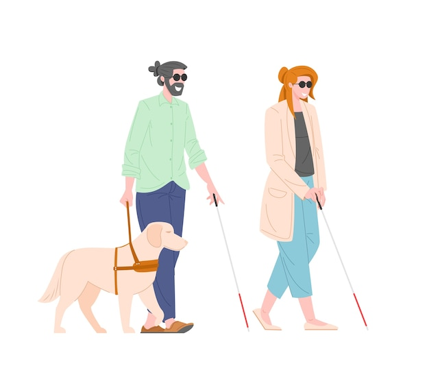 Illustration of visually impaired guy and girl with guide dog isolated on white background
