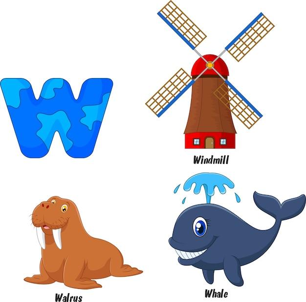 Illustration of w alphabet