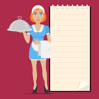 Illustration waitress holds tray in hand, format eps 10