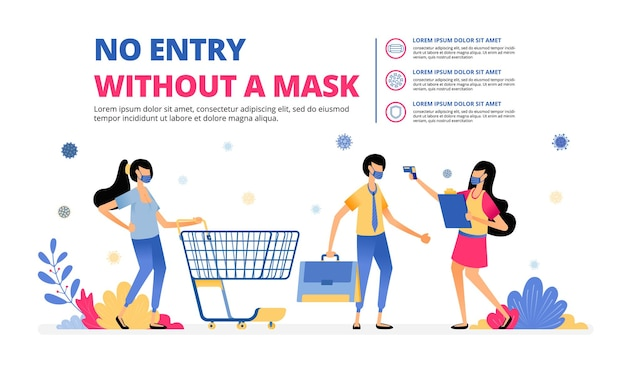 Illustration warning of no entry without a mask