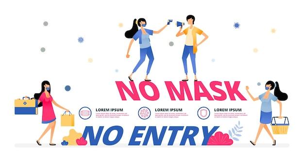 Illustration warning of no mask no entry