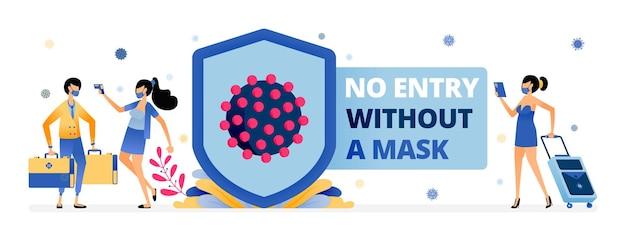 Иллюстрация предупреждение о запрете входа без маски