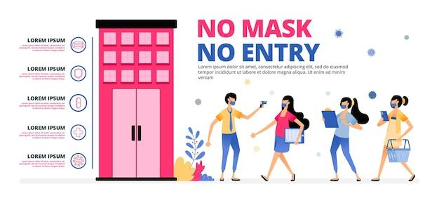 マスクなしのイラスト警告エントリなし