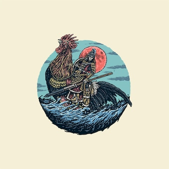 Illustration of warrior riding a rooster, hand drawn