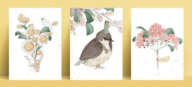 그림 수채화 새, 버섯, 꽃, 잎 및 자연 야생 손으로 그린 세트