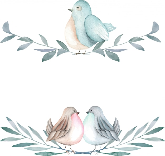 Illustration of watercolor cute birds on branches
