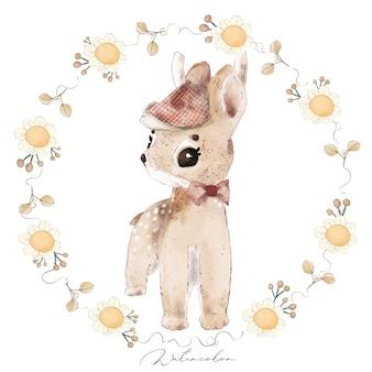 Illustration watercolor deer, flower, leaf and natural wild hand drawn set