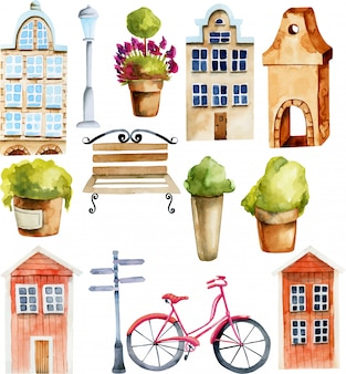 Illustration of watercolor european and scandinavian nordic houses and street objects