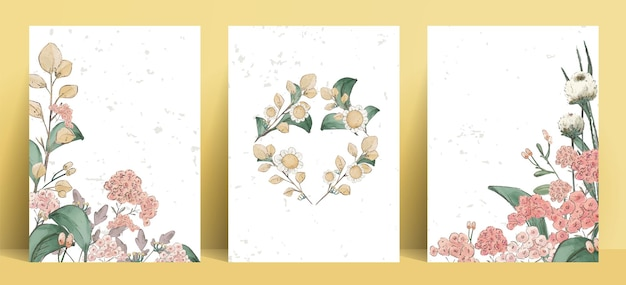 Illustration watercolor flower , leaf and natural wild hand drawn set