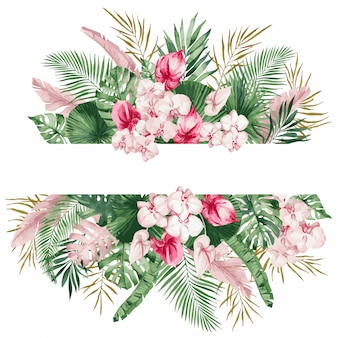 Illustration, watercolor frame with tropical leaves and flowers, white orchid, monstera and palm leaves, template for wedding invitation.