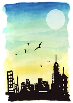 Illustration of watercolor landscape artwork at sunset and silhouettes of magnificent buildings.
