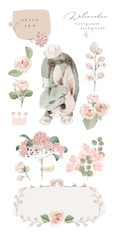 Illustration watercolor rabbit, flower, leaf and natural wild hand drawn set