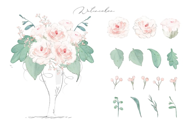 Illustration watercolor rose flower , leaf and natural wild hand drawn set