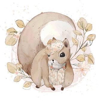 Illustration watercolor  squirrel , flower, leaf , star , and natural wild hand drawn set