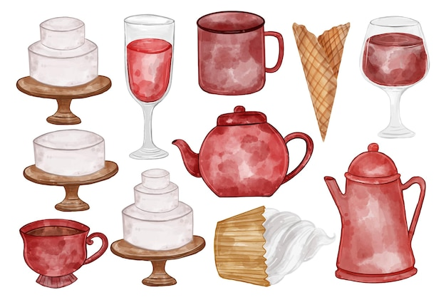 Illustrazione acquerello di teiera, vetro, torta, tè, bollitore e altri