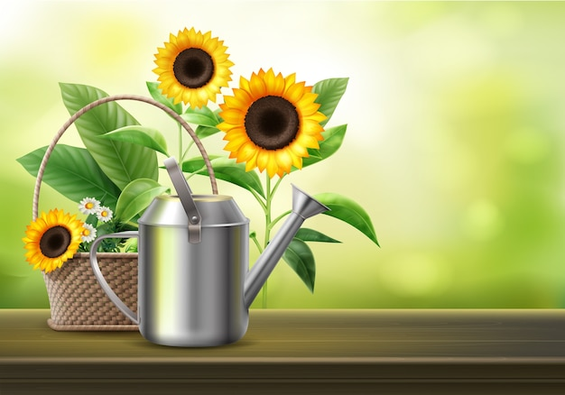 Illustration of watering can and wicker basket with sunflowers and camomile