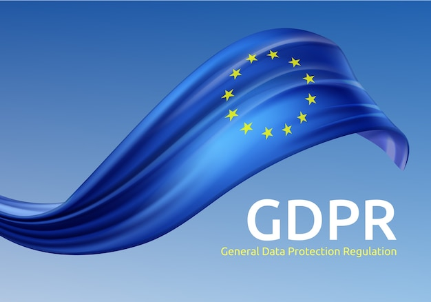 Illustration of waving european union flag with gdpr, general data protection regulation on blue background