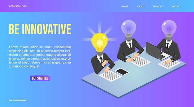 イラストウェブアイソメトリック、ランプマン会議とアイデアを見つけた、革新的な人