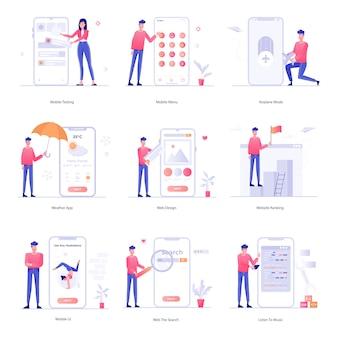 Illustration web and mobile app development