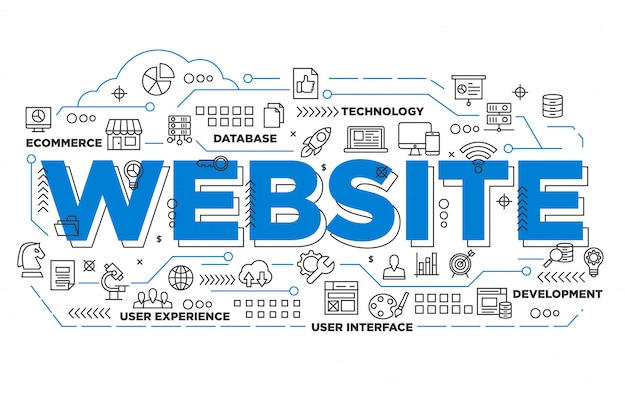 Illustration of website banner design with iconic style