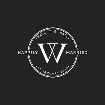 Illustration of wedding invitation stamp banner