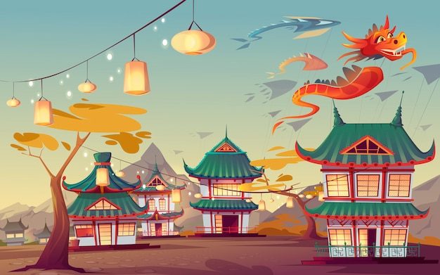 Illustration of weifang kite festival in china