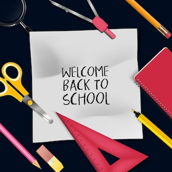 Illustration of welcome back to school template