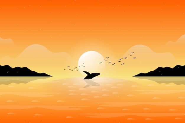 Illustration of whale swimming with orange sunset sky