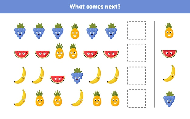 Illustration. what comes next. continue the sequence. fruits. worksheet for kids kindergarten, preschool and school age.