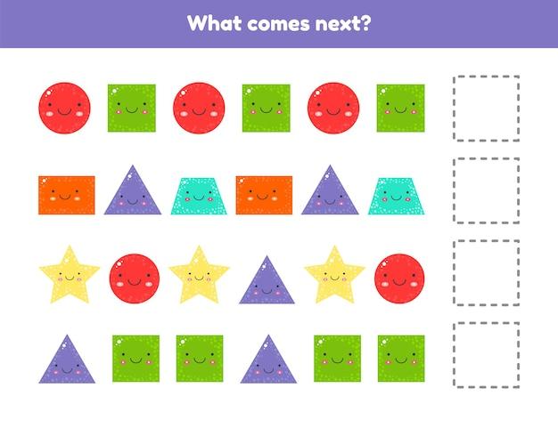 Иллюстрация. что будет дальше. продолжайте последовательность. геометрические фигуры. рабочие листы для детей детского сада, дошкольного и школьного возраста.