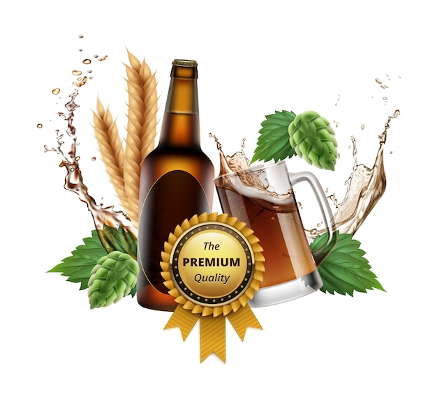Illustration of wheat beer ads with reward Premium Vector