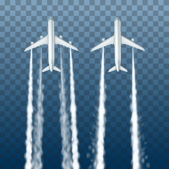 Illustration of white big passenger airplanes