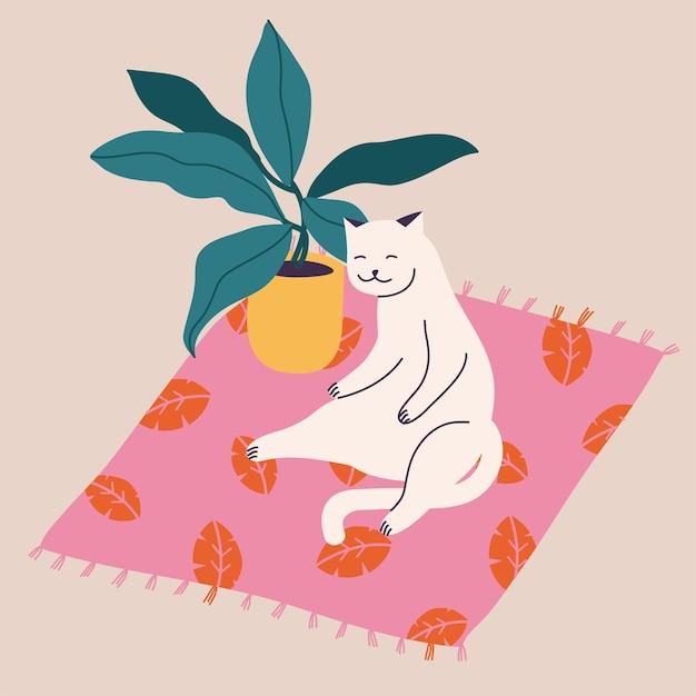 그림 꽃 냄비 근처 카펫에 앉아 흰 고양이.