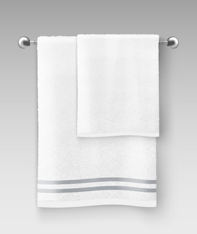 Illustration of white clean terry towel hanging on hanger prepared to use on gray background