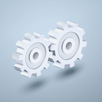 Illustration white detailed  gears